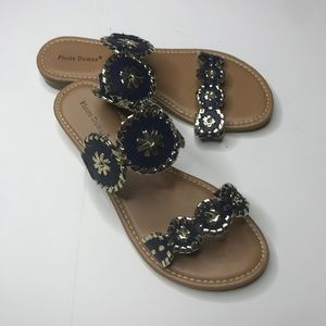 Pierre Dumas sandals blue and gold size 8